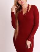 Красное вязаное платье XC5286 (105286) - цена, 4