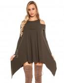 Трикотажное платье цвета хаки (105305) - 4, 10
