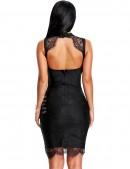 Бандажное черное платье с кружевом X5312 (105312) - цена, 4