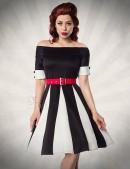 Черно-белое платье в стиле ретро (105181) - foto