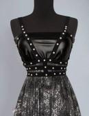 Длинное платье с портупеей и жемчугом (105218) - 3, 8