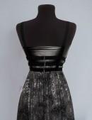 Длинное платье с портупеей и жемчугом (105218) - материал, 6