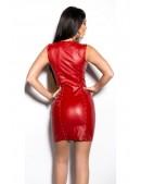Красное шипованное платье под кожу (105382) - 4, 10