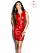 Красное шипованное платье под кожу (105382) - foto