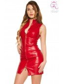 Красное кожаное платье на молнии KouCla (105414) - foto