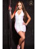 Блестящее белое платье под кожу KC166 (127166) - foto