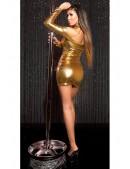 Короткое золотистое платье с декольте KouCla (127169) - 4, 10