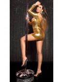 Короткое золотистое платье с декольте KouCla (127169) - 3, 8