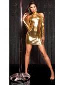 Короткое золотистое платье с декольте KouCla (127169) - материал, 6