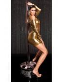 Короткое золотистое платье с декольте KouCla (127169) - оригинальная одежда, 2