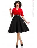 Платье в стиле Ретро с декольте и поясом (105339) - 3, 8