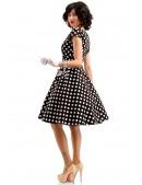 Черно-белое платье в горох с поясом X5340 (105340) - оригинальная одежда, 2