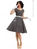 Черно-белое платье в горох с поясом X5340 (105340) - foto