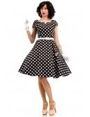 Черно-белое платье в горох с поясом X5340 (105340) - цена, 4