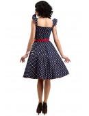Синее ретро-платье в горошек X5354 (105354) - оригинальная одежда, 2