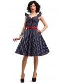 Синее ретро-платье в горошек X5354 (105354) - foto