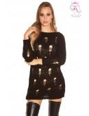 Рваный черный свитер-платье KouCla (105375) - foto