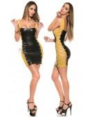 Виниловое платье с сетчатыми вставками и шнуровкой (127146) - 4, 10