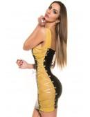 Виниловое платье с сетчатыми вставками и шнуровкой (127146) - оригинальная одежда, 2