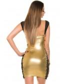 Блестящее мини-платье со шнуровкой и сеточкой (127147) - 3, 8