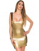 Блестящее мини-платье со шнуровкой и сеточкой (127147) - 4, 10