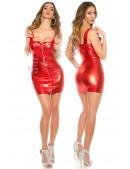 """Красное мини-платье с """"мокрым"""" эффектом и поясом (127149) - цена, 4"""