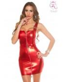"""Красное мини-платье с """"мокрым"""" эффектом и поясом (127149) - foto"""