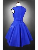 Винтажное платье с декольте и поясом (105050) - оригинальная одежда, 2