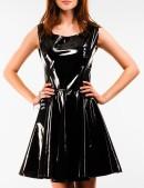 Лаковое платье с ремешками на спине (105099) - оригинальная одежда, 2