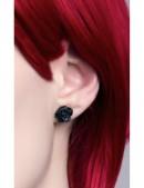 Серьги-гвоздики Black Rose (AGE339) - оригинальная одежда, 2