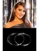 Серебристые серьги-кольца (9 см) (709151) - оригинальная одежда, 2