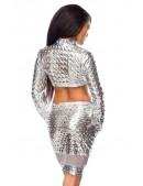 Серебристый комплект: топ и юбка с чешуйками (118040) - оригинальная одежда, 2