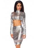 Серебристый комплект: топ и юбка с чешуйками (118040) - foto