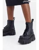 Черные кожаные ботинки на платформе NM083 (NEWMILI083-S39) - foto