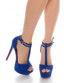 Синие туфли с открытым носком (15 см) (300010) - foto