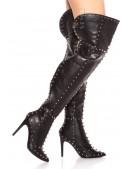 Шипованные ботфорты на тонком каблуке (310041) - оригинальная одежда, 2