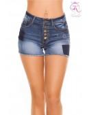 Короткие джинсовые шорты с высокой талией KC10907 (110907) - foto
