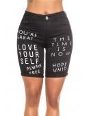 Черные джинсовые шорты с надписями MF916 (110916) - 3, 8