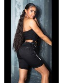 Черные джинсовые шорты с надписями MF916 (110916) - цена, 4