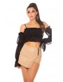 Кожаные юбка-шорты с запахом KC7004 (117004) - оригинальная одежда, 2