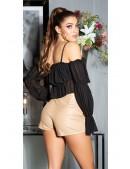 Кожаные юбка-шорты с запахом KC7004 (117004) - 5, 12