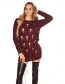 Рваный спереди свитер-платье KouCla (105371) - цена, 4