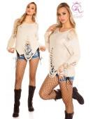 Рваный бежевый свитер с молниями (111195) - foto