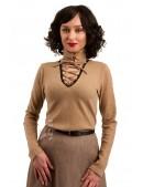 Шерстяной женский джемпер со шнуровкой и чокером (111212) - цена, 4