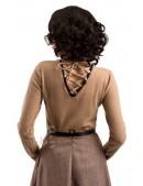 Шерстяной женский джемпер со шнуровкой и чокером (111212) - материал, 6