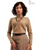 Шерстяной женский джемпер со шнуровкой и чокером (111212) - foto