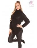 Черный свитер с разрезами KouCla (111219) - foto
