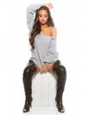 Серый свитер на одно плечо KouCla (111223) - 3, 8