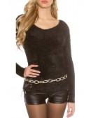 """Черный """"пушистый"""" свитерок PU8002 (111229) - 4, 10"""