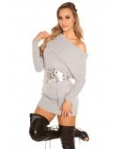 Серый свитер-туника на одно плечо KouCla (111235) - материал, 6